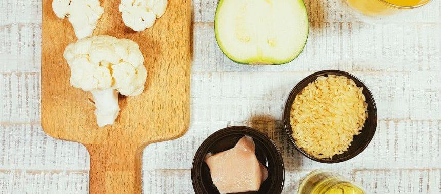 Blumenkohl-Zucchini-Hähnchen-Reis-Brei