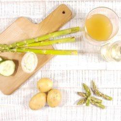 Spargel-Gurke-Kartoffel-Brei mit Hähnchen Zutaten