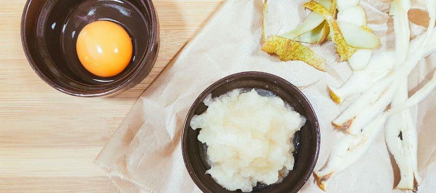 Grießschnitten mit Birne und Zimt