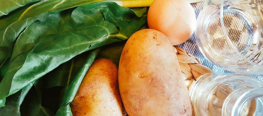 Mangold-Kartoffel-Brei mit Ei