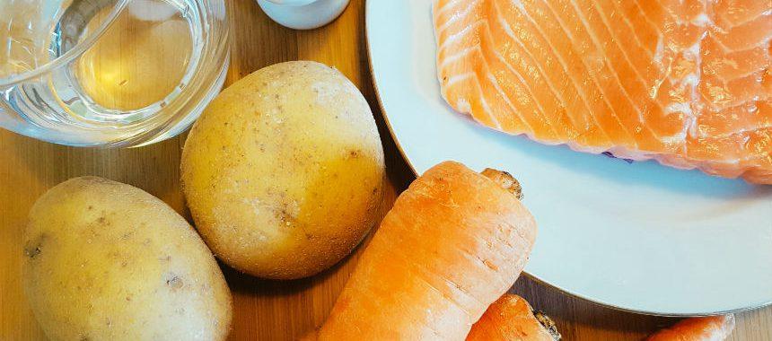 Möhren-Kartoffel-Lachs-Brei