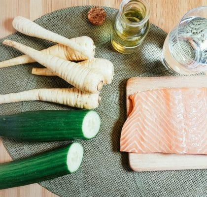 Pastinaken-Gurken-Püree mit Lachs Zutaten