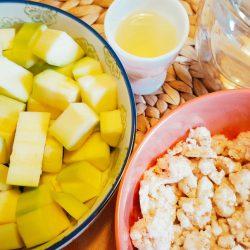 Zucchini-Reiswaffel-Brei Vorbereitung