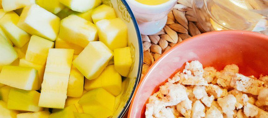 Zucchini-Reiswaffel-Brei